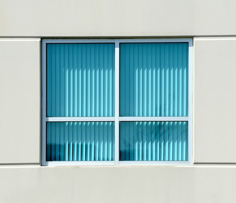 Turquoise blinds of an office