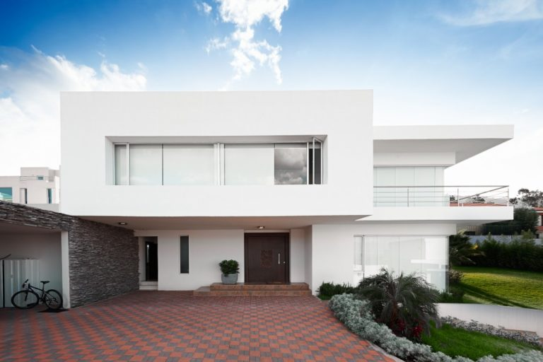 Modern home with driveway