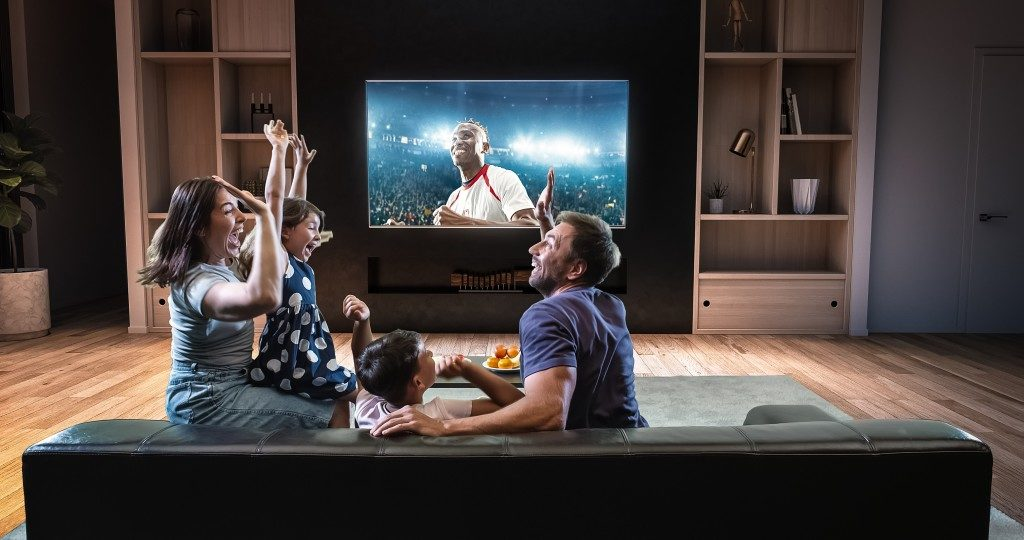 the perfect living room for watching sports
