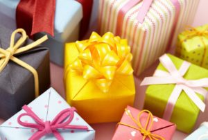 wrapped gift boxes with ribbon