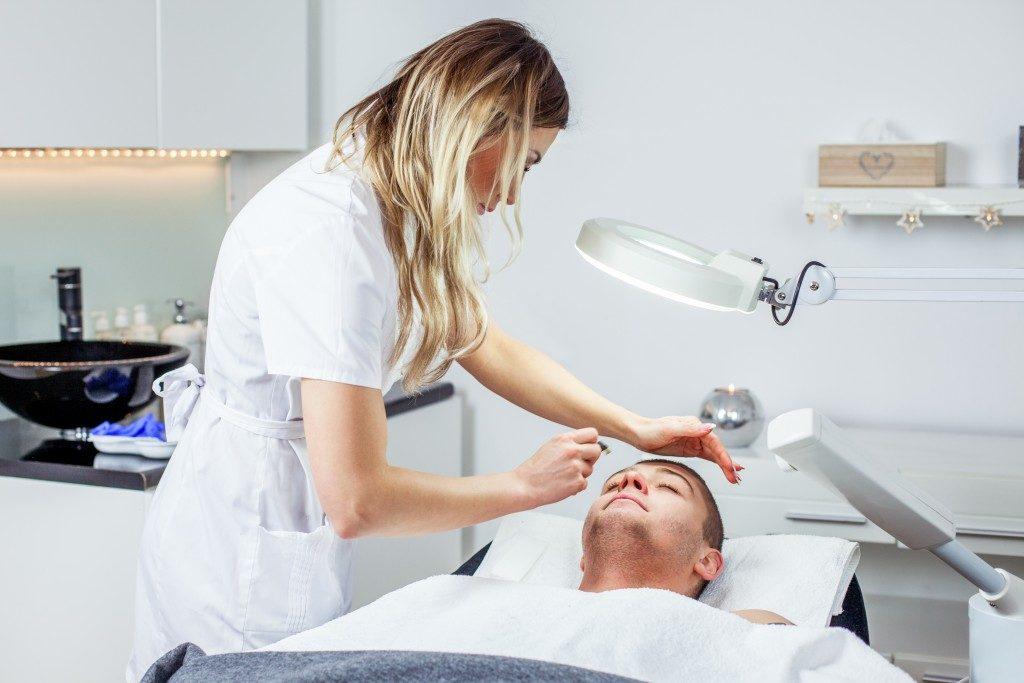 dermatologist giving skin treatment