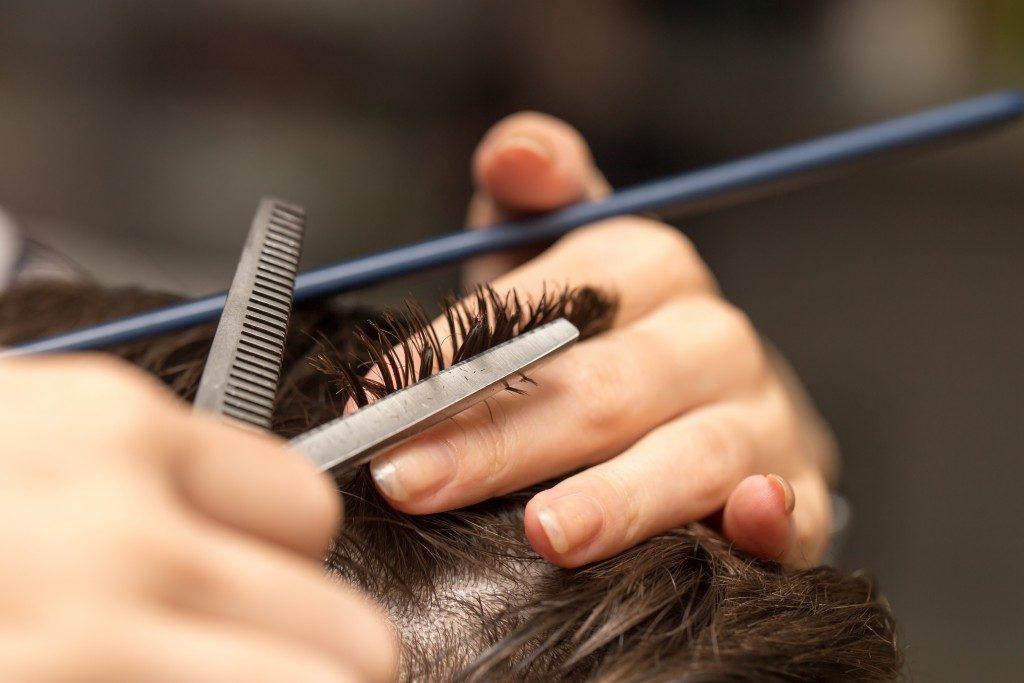 Hair cut close up
