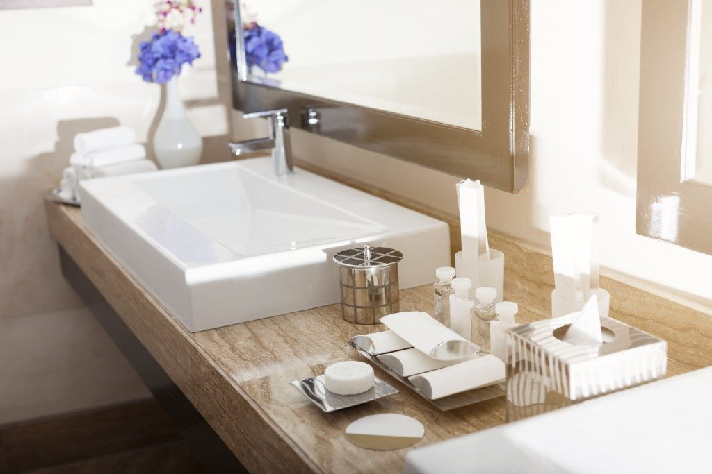 bathroom sink with hygiene kit