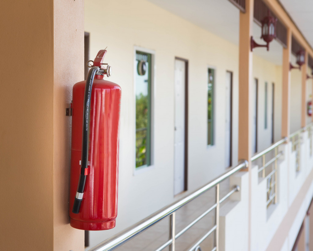 Fire extinguisher hanging on the wall