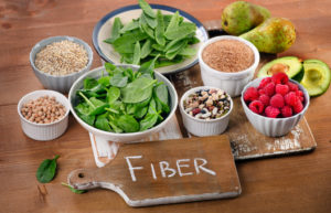 Foods rich in Fiber on a wooden table