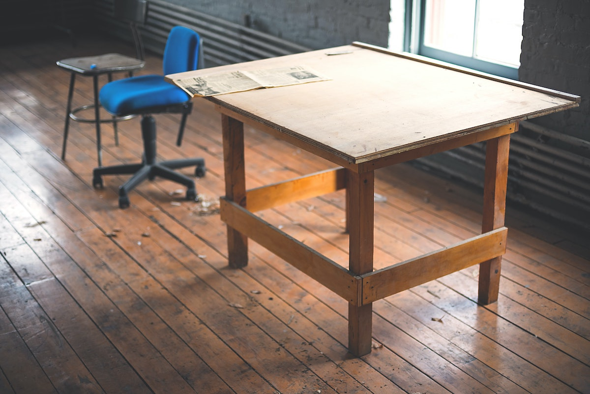 wooden table inside a room