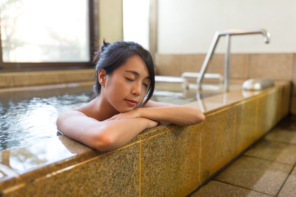 taking a hot bath