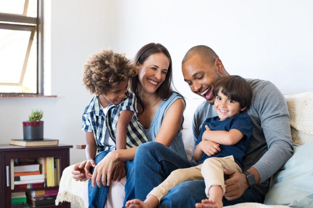family bonding on sofa