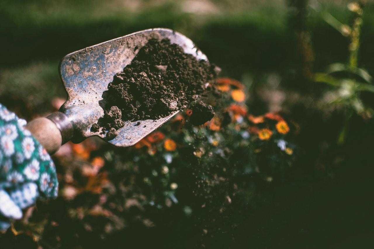 dirt on a shovel