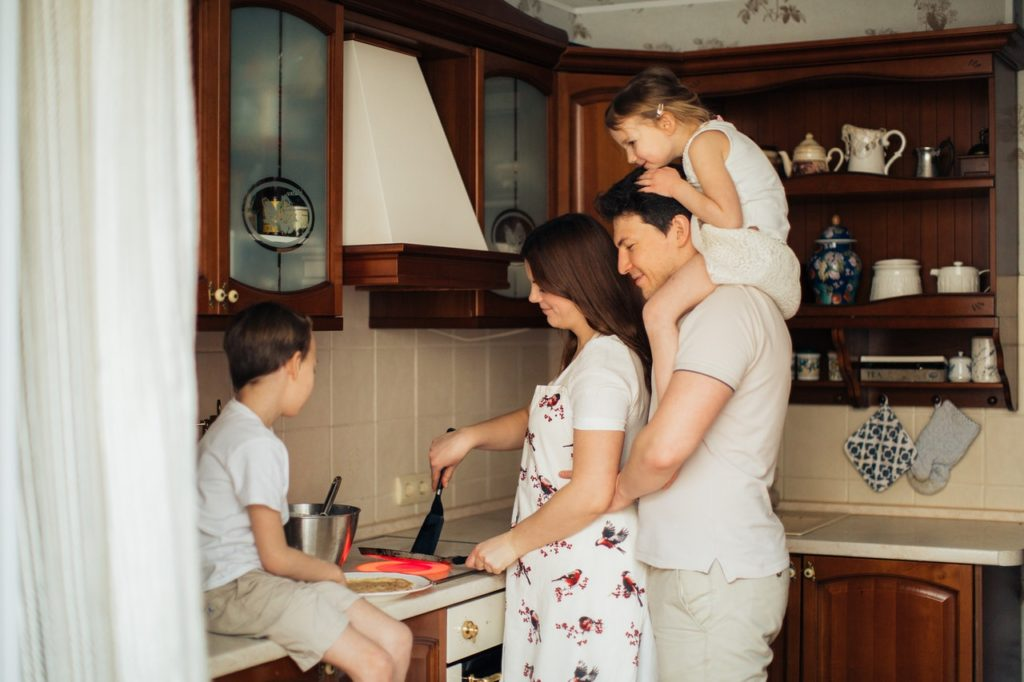 family cooking in the kitchen