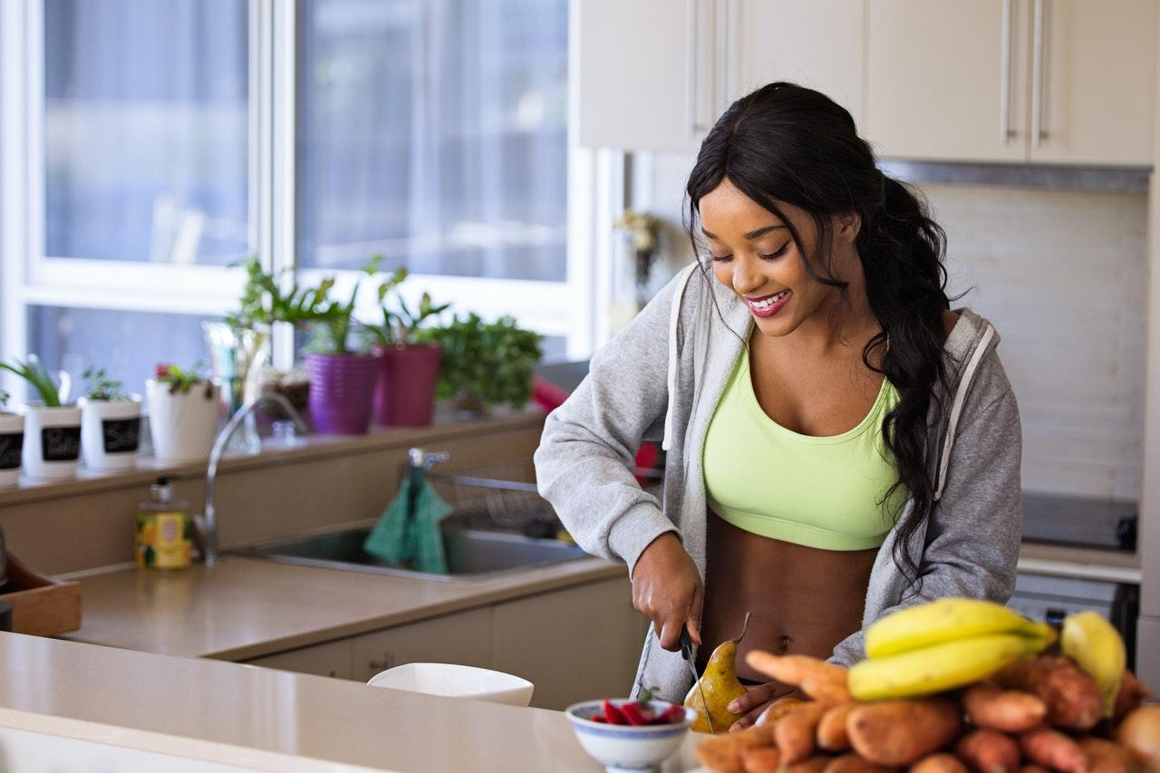 woman preparing healthy food