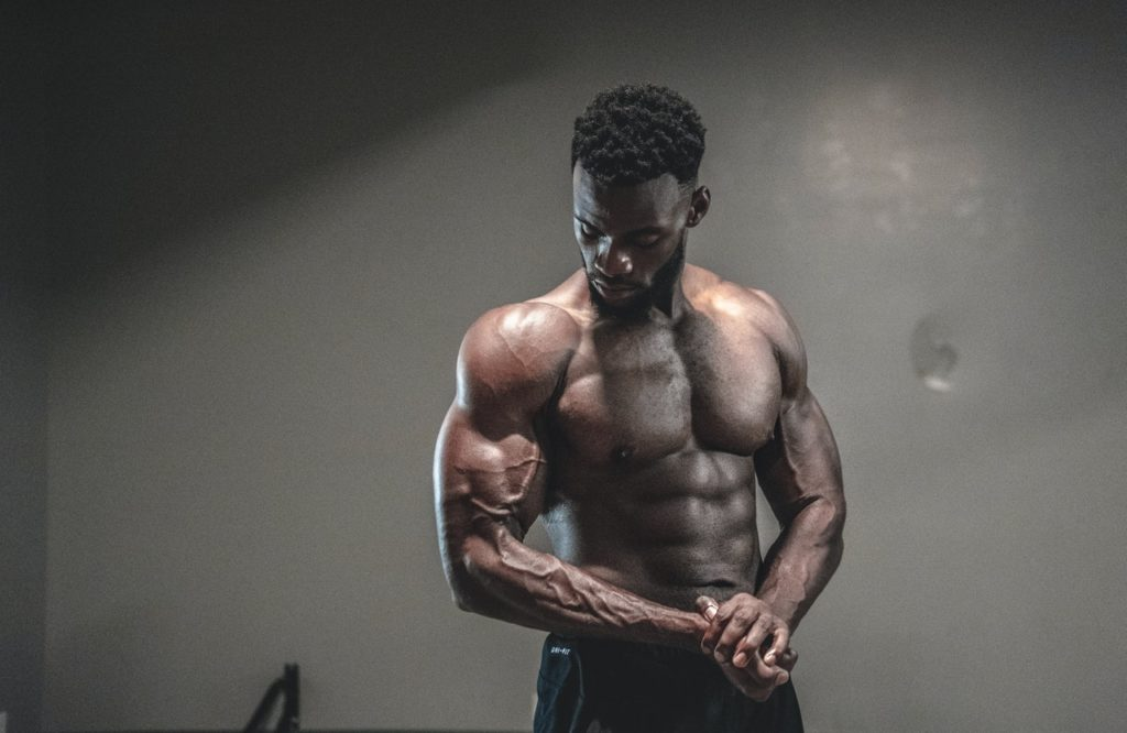 man showing off his muscles