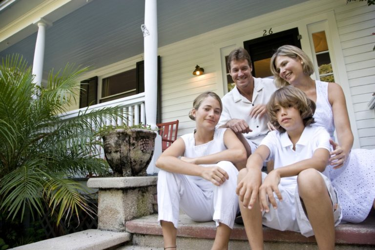 family at the porch