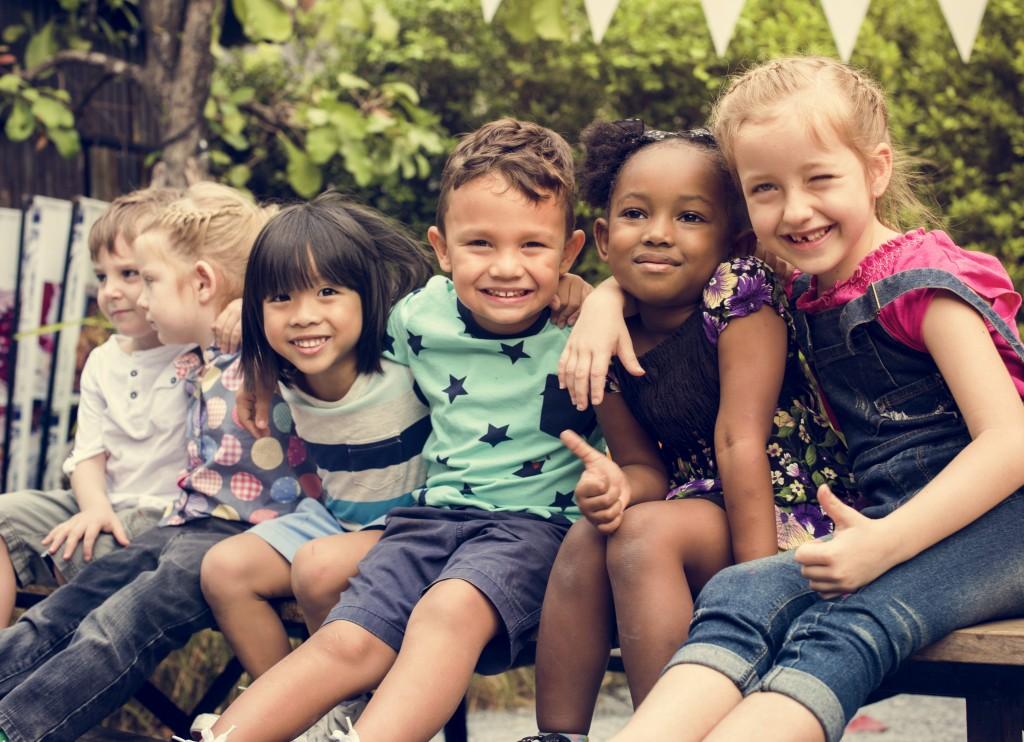 children smiling for photo